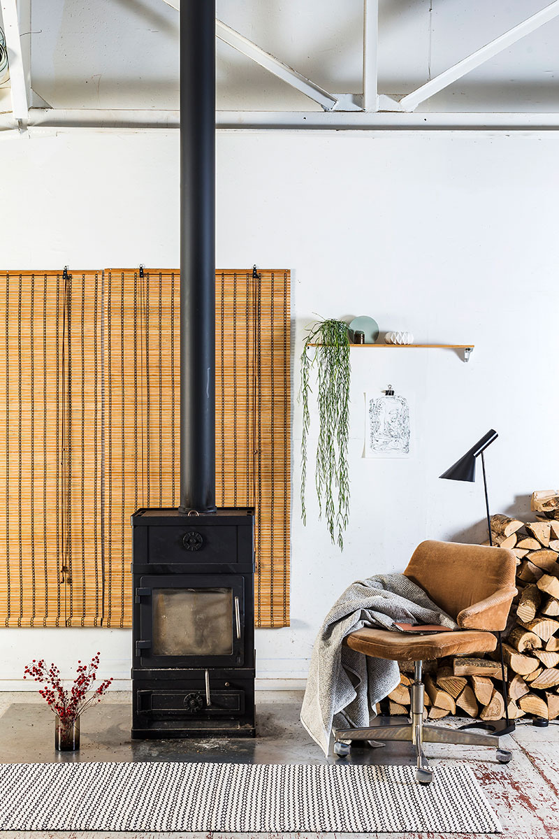 Rullegardin i natur brun bambus.