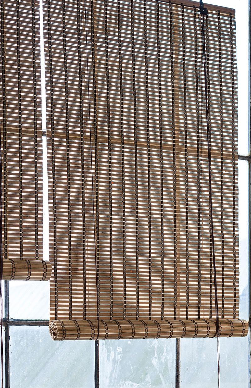 Brun natur bambus rullegardiner. Rullegardin 200 cm.