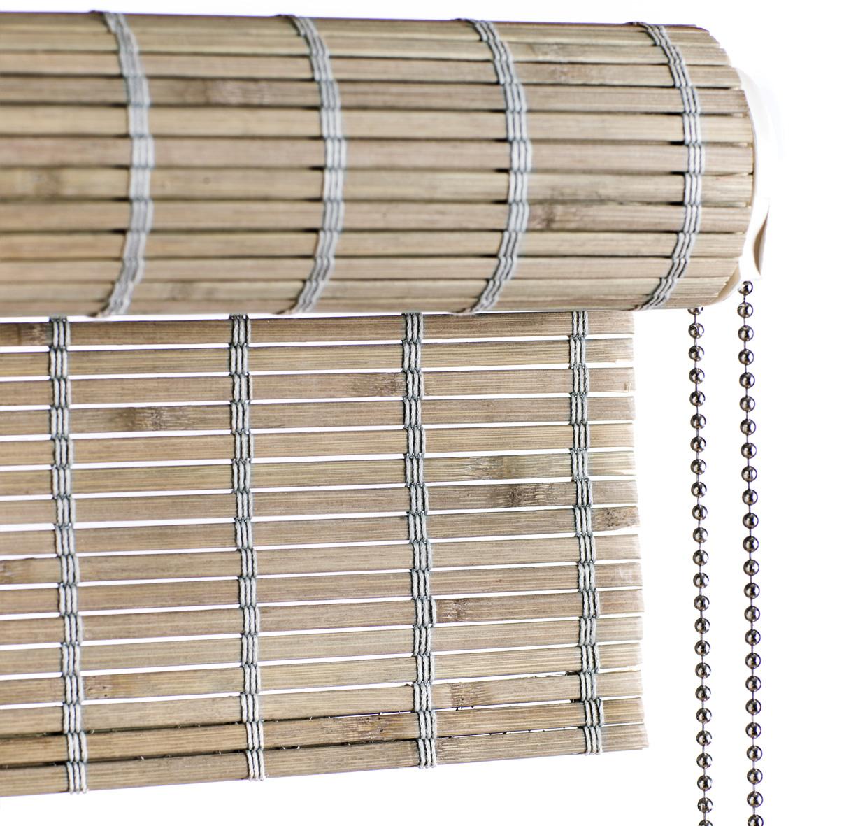 Tidsmæssigt Gråt bambus rullegardin med kædetræk - Laves efter mål RZ-21