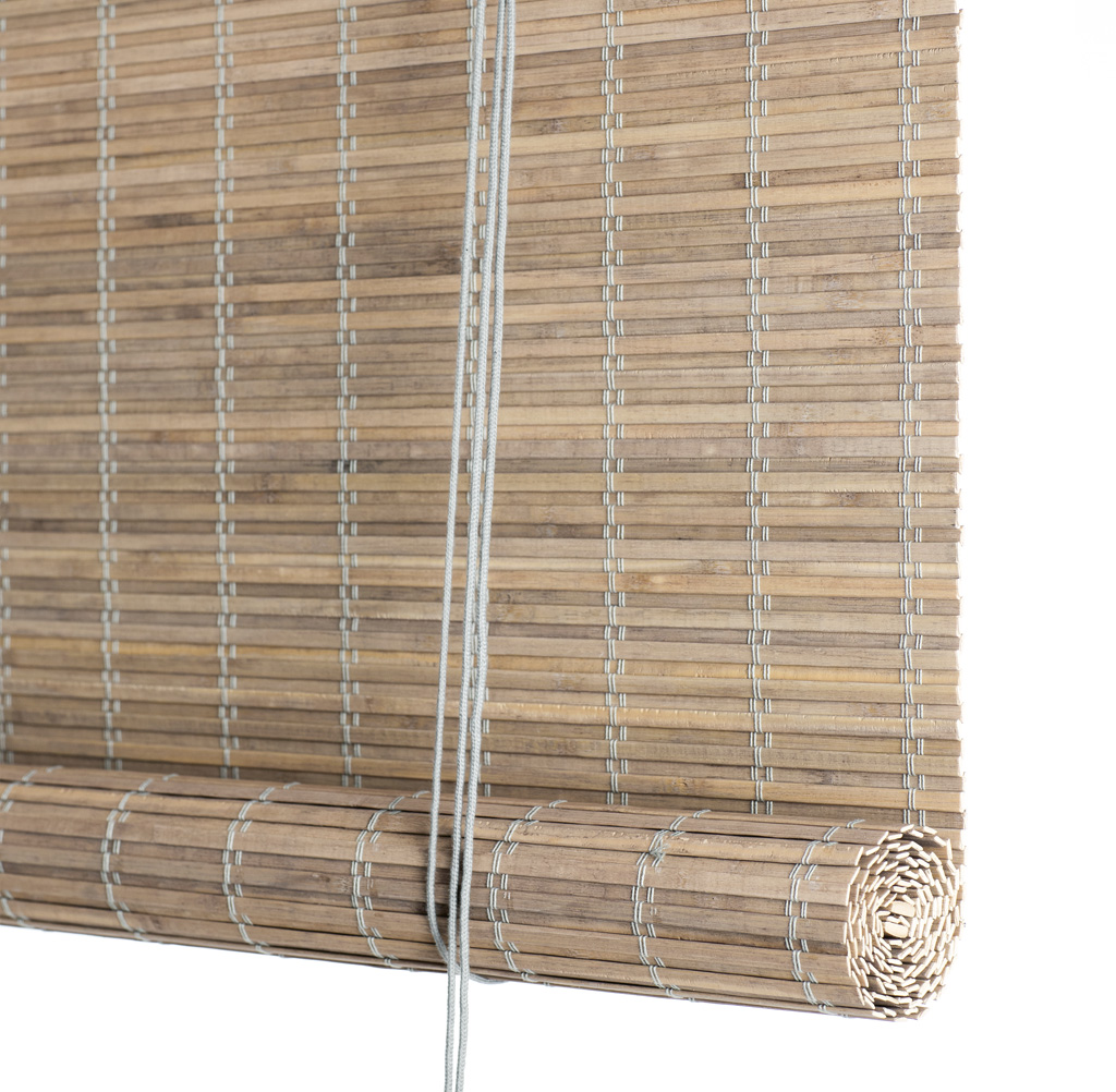 Grey Stain Blackout Bamboo Roller Blinds Made To Measure